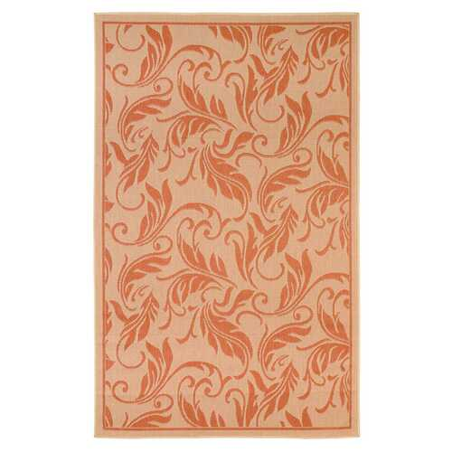 Tropic Leaves Indoor/Outdoor Coral Rug