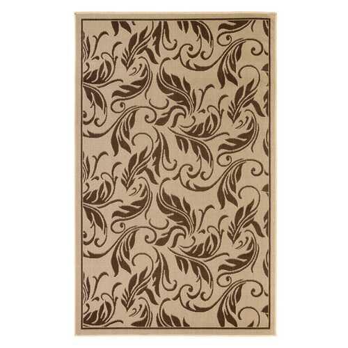 Tropic Leaves Indoor/Outdoor Dark Brown Rug