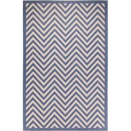 Chevron Design Indoor/Outdoor Dark Blue Area Rug