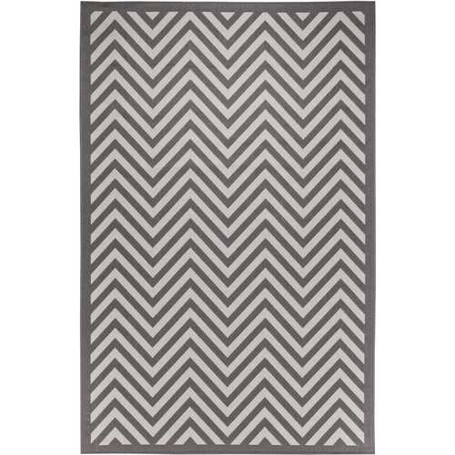 Chevron Design Indoor/Outdoor Light Gray Area Rug