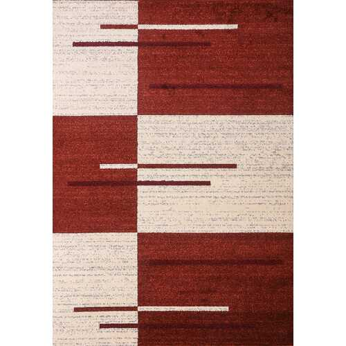 Piano String Red Beige Area Rug 5 ft. by 7 ft.
