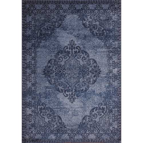 Hena Glory Blue Beige Area Rug 5 ft. by 7 ft.