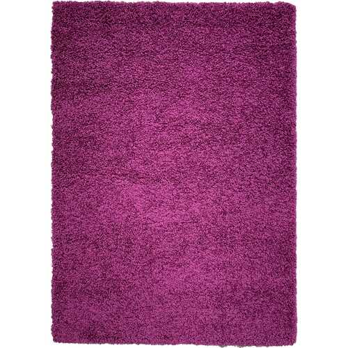 Solid Shag Collection Modern Plush Violet Shag Area Rug 5 ft. by 7 ft.