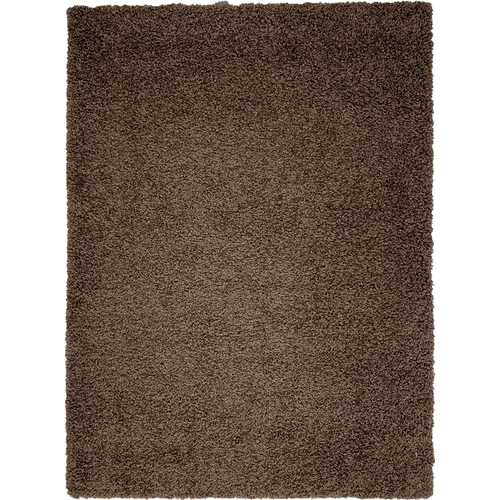 Solid Shag Collection Modern Plush Brown Shag Area Rug 5 ft. by 7 ft.
