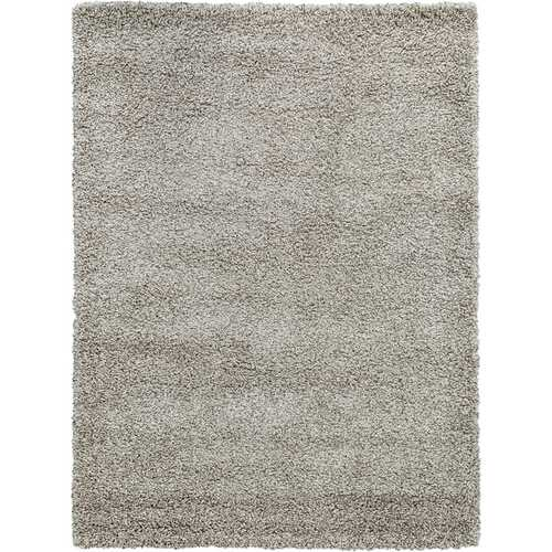 Solid Shag Collection Modern Plush Beige Shag Area Rug 3 ft. by 5 ft.