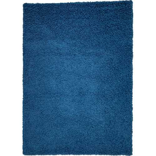 Solid Shag Collection Modern Plush Navy Shag Area Rug 8 ft. by 10 ft.