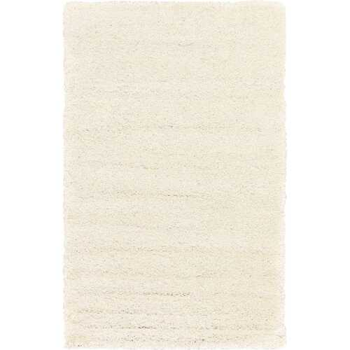 Solid Shag Collection Modern Plush White Shag Area Rug 8 ft. by 10 ft.