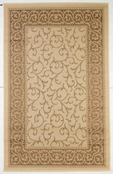 Leaves Border Design Indoor/Outdoor Beige Area Rug