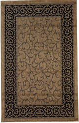 Leaves Border Design Indoor/Outdoor Brown Area Rug
