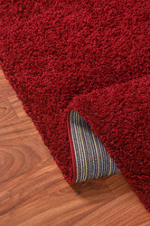 Solid Shag Collection Modern Plush Red Shag Area Rug 5 ft. by 7 ft.