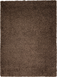 Solid Shag Collection Modern Plush Brown Shag Area Rug 8 ft. by 10 ft.