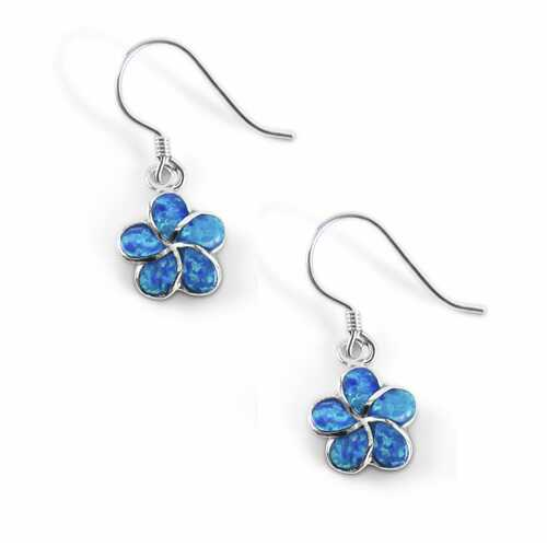 Plumeria Opal Dangle Earrings