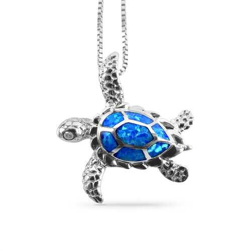 Sea Turtle Opal Pendant #2 25mm