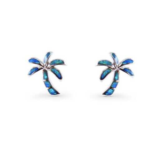 Palm Tree Blue Opal Stud Earrings