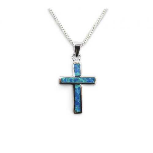 Opal Blue Cross Pendant