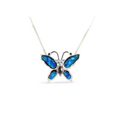 Butterfly Blue Opal Pendant with Cubic Zirconia