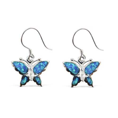 Butterfly Blue Opal Earrings with Cubic Zirconia