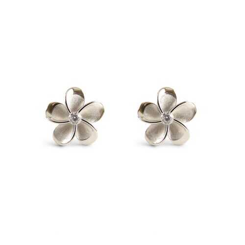Plumeria Sterling Silver Stud Earrings