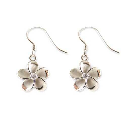Plumeria Sterling Silver Stud Earrings