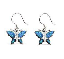 Butterfly Blue Opal Earrings with Cubic Zirconia