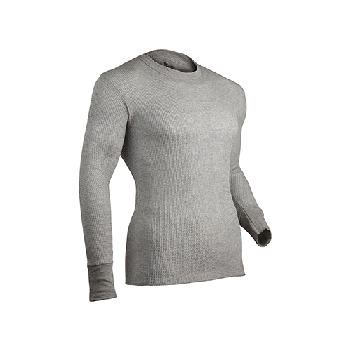 Indera Cotton HW Thermal Shirt L/S Heather Gray Large