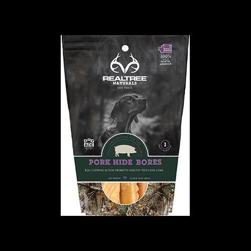 Realtree Naturals Premium Dog Treats Pork Hide Bones