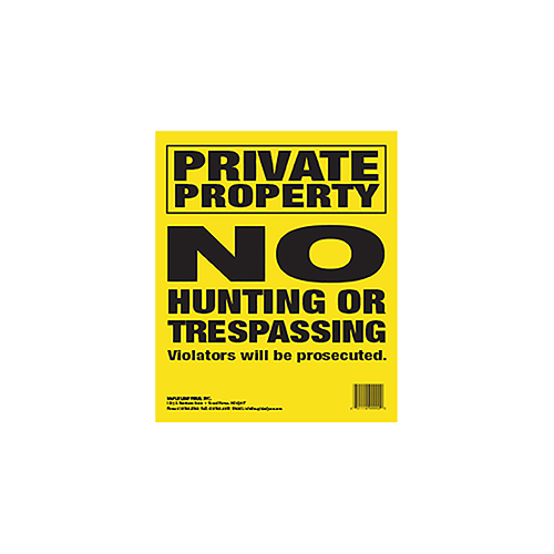 Maple Leaf No Trespassing Sign Yellow 10x12 Vertical