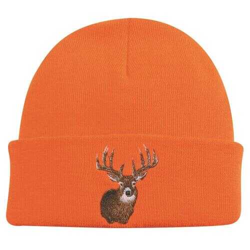 Outdoor Cap Knit Watch Cap Blaze Orange w/Deer One Size