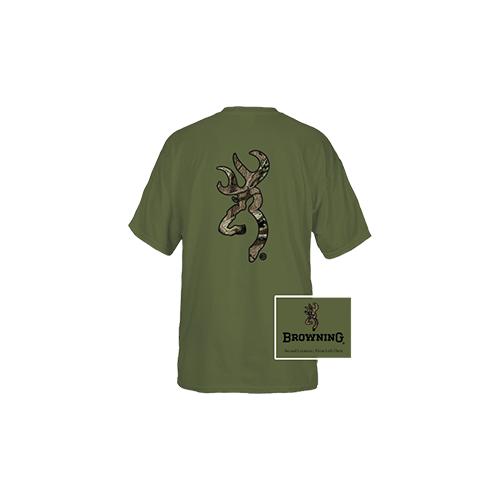 Browning Casual Tshirt Military Green/Camo Buckmark Medium