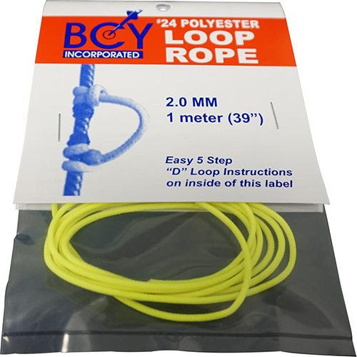 BCY Size 24 D Loop Rope Neon Yellow 1 m.