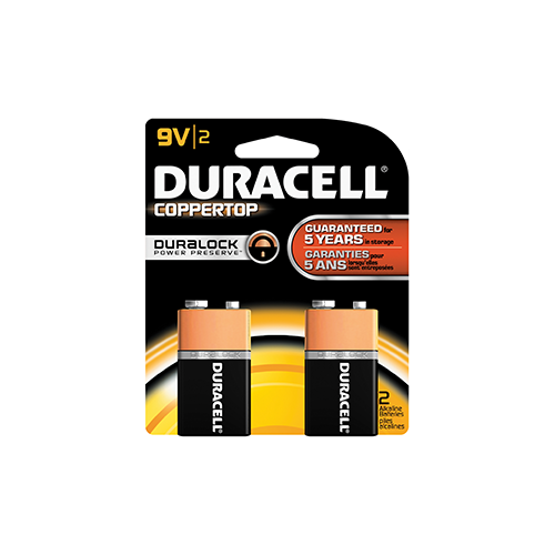 Duracell Coppertop Battery 9 Volt 2 pk.