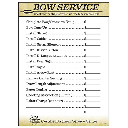 Kinsey's Bow Service Price Chart