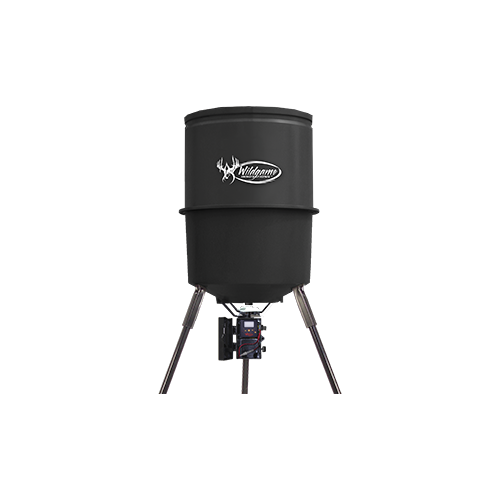Wildgame Quick Set 225# 30gal Black Poly Barrel Feeder w/Trip