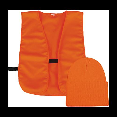 Knit Watch Cap and Vest Combo Blaze