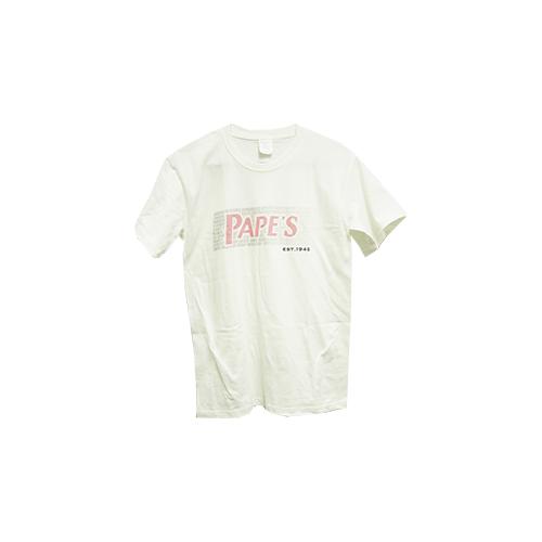 Papes White Short Sleeve Tshirt Pink Fade Medium