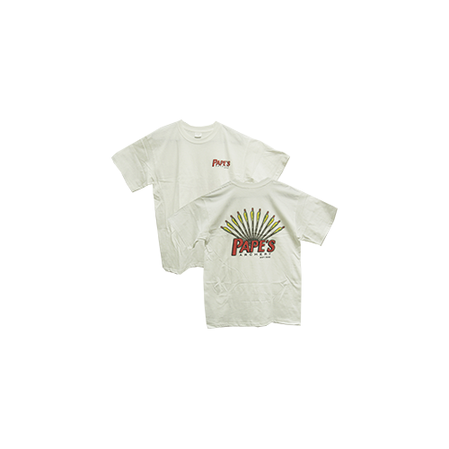 Pape's Short Sleeve Tshirt White w/Arrow Design Medium