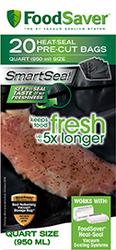 Food Saver PreCut Bags 8x11in Quart 20pk