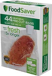 Food Saver PreCut Bags 8x11in Quart 44pk