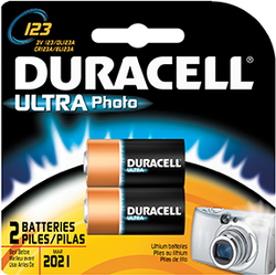 * Duracell Lithium Battery CR123 2 pk.
