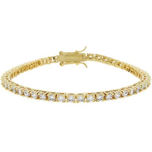 Goldtone Finish Victorian Cubic Zirconia Tennis 7 Inch Bracelet