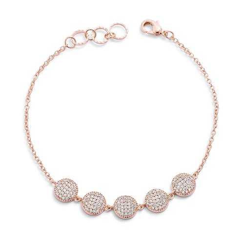 0.8ct CZ Rose Goldtone Pave Disc Bracelet