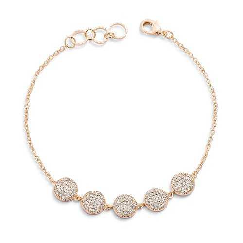 0.8ct CZ Goldtone Pave Disc Bracelet