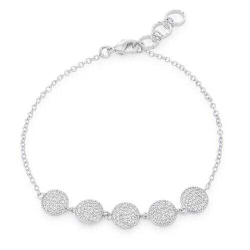 Carol 0.8ct CZ Rhodium Pave Disc Bracelet