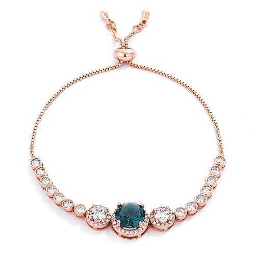 Adjustable Rose Gold Plated Graduated CZ Bolo Style Tennis Bracelet