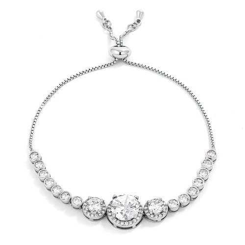 Adjustable Rhodium Plated Graduated Clear CZ Bolo Style Tennis Bracelet