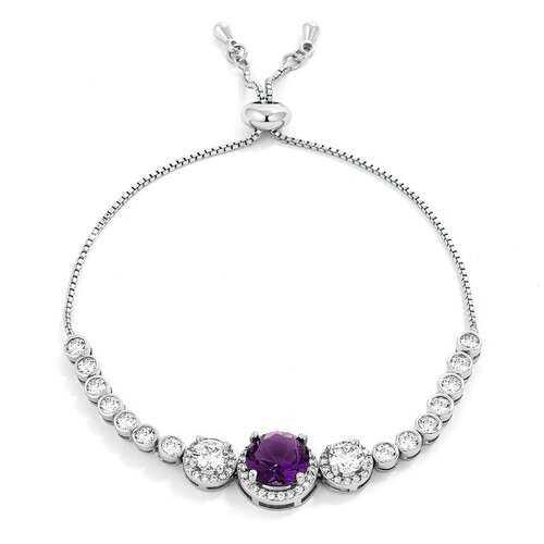 Adjustable Rhodium Plated Graduated Purple & Clear CZ Bolo Style Tennis Bracelet