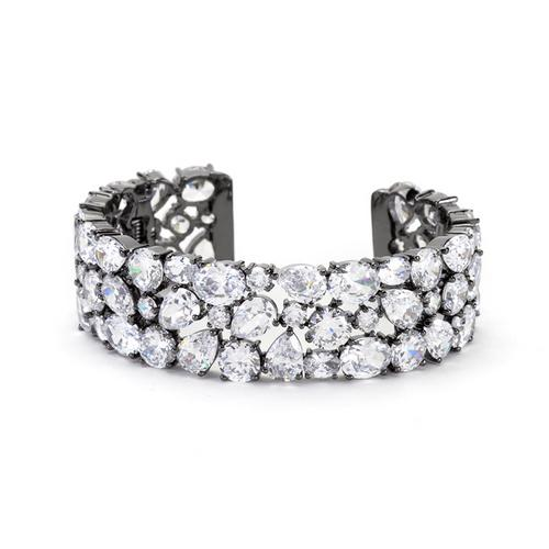Bejeweled Cubic Zirconia Cuff Black Tone