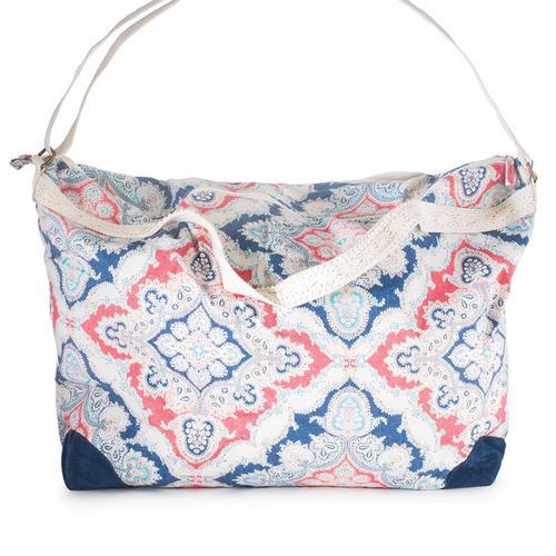 Karen Blue Multicolor Floral And Lace Duffle Bag