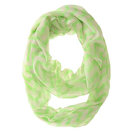 Zig Zag Neon Green Infinity Scarf