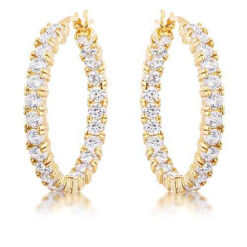 18k Gold Plated Eternity Hoop Earrings